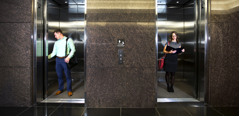 Josh and Jenna take two separate elevators to work